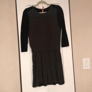 Zara olive green and black mini dress